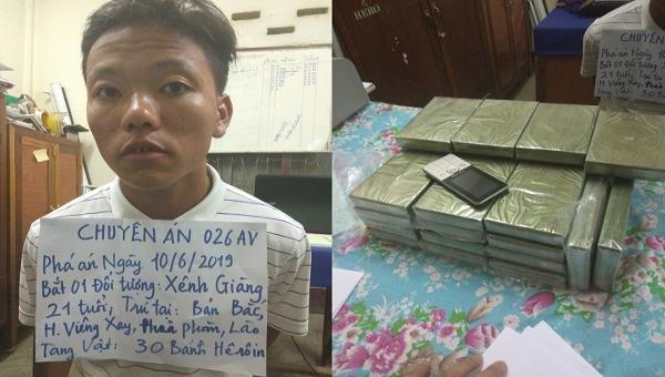 Bộ đội Biên phòng Nghệ An bắt đối tượng vận chuyển 30 bánh heroin